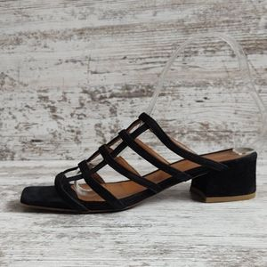 ⚀By Far Suede Leather Caged Slide Sandal
